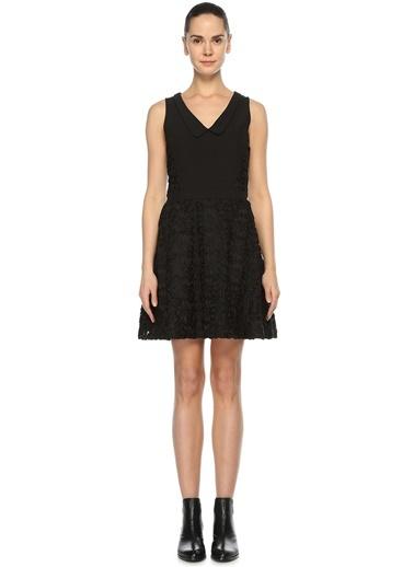 Dantel Detaylı V Yaka Kloş Elbise-Bel-Air